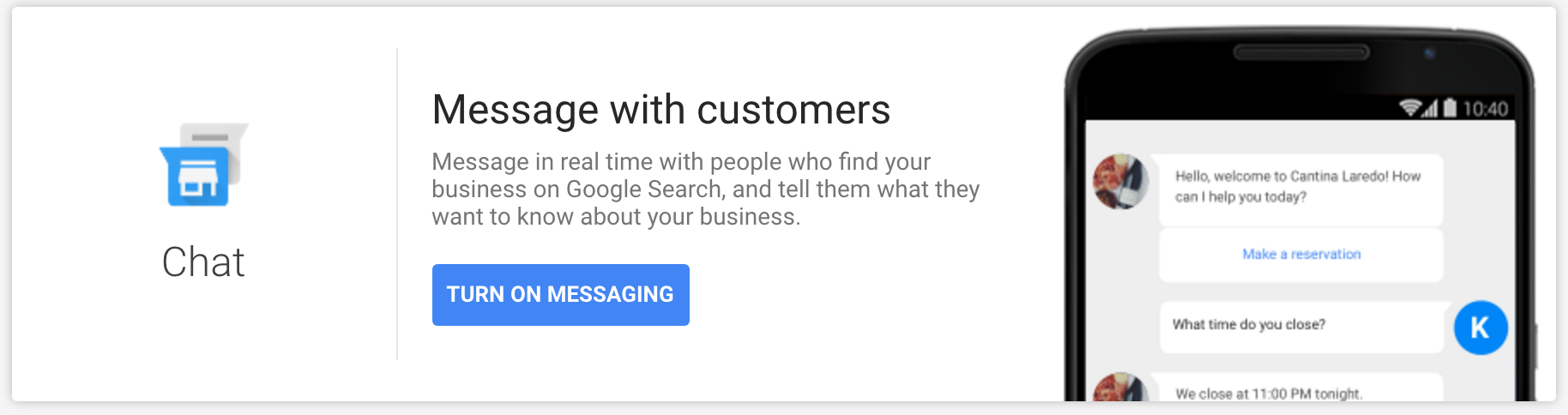 Google My Business Chat